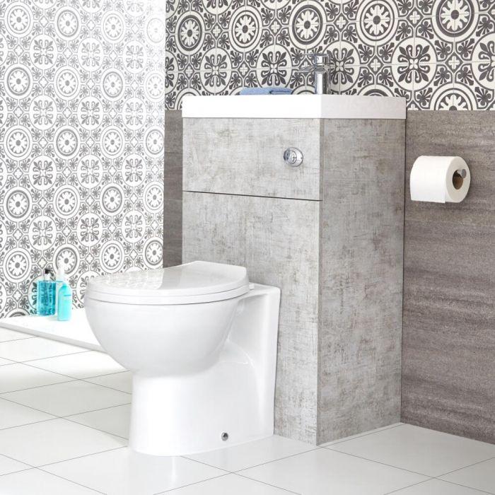 Meuble WC avec cuvette et lave-main – Gris béton – 50 cm x 89 cm – Cluo