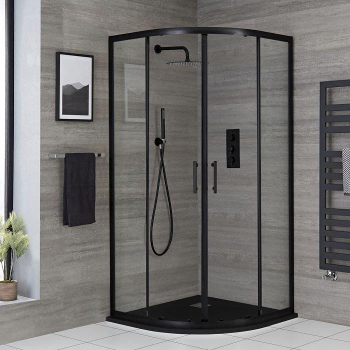 Cabine de douche quart de cercle - Receveur à effet texturé avec choix de finition - Noir - Nox