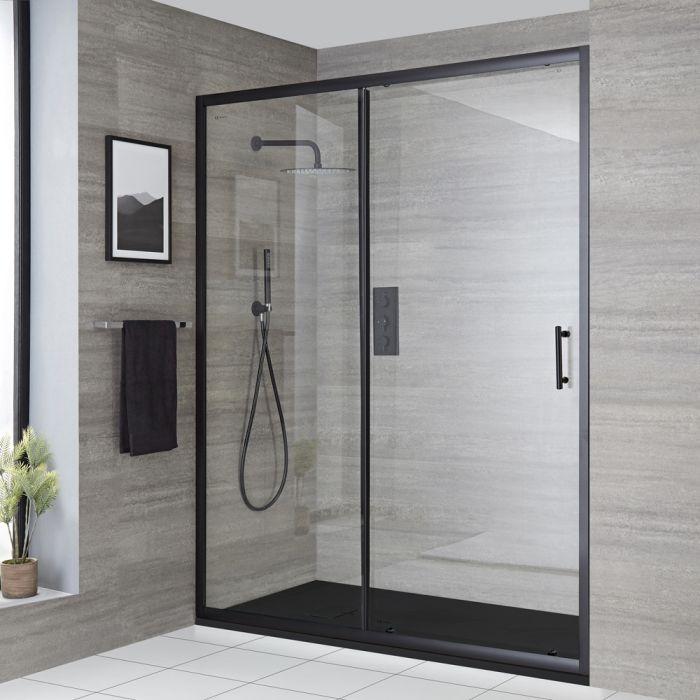 Porte de douche coulissante avec receveur – Noir – Tailles multiples - Nox