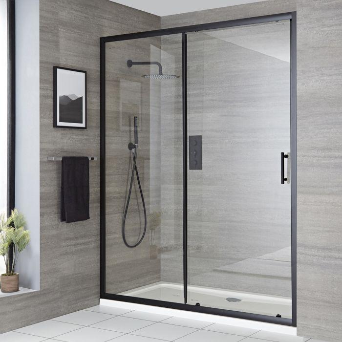 Porte de douche coulissante avec receveur – Noir - Tailles multiples - Nox