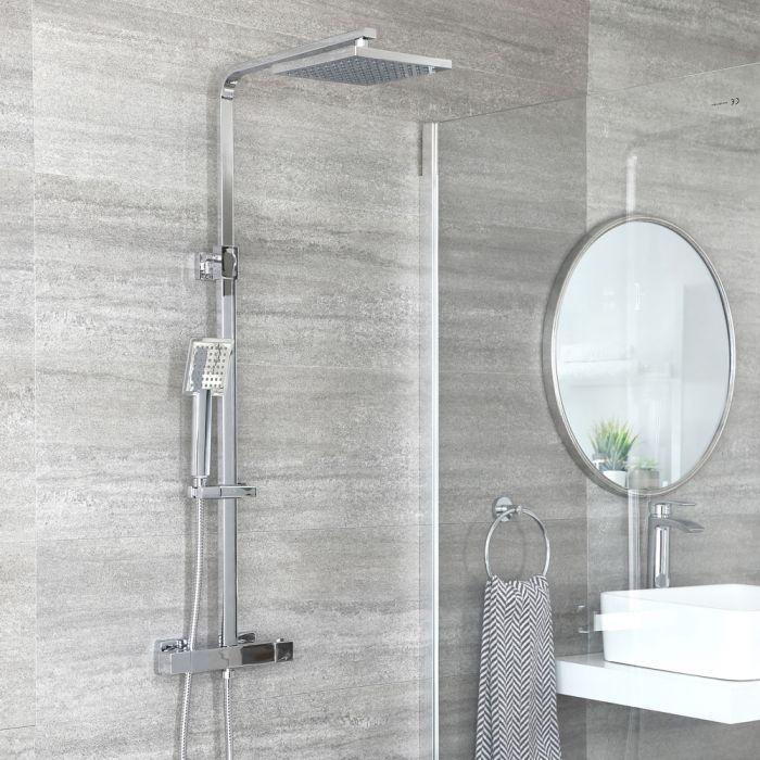 Colonne de douche thermostatique avec mitigeur barre carré, douchette et pommeau de douche – Chromé - Kubix