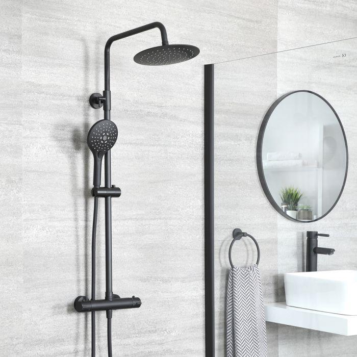Colonne de douche thermostatique avec mitigeur barre rond, douchette et pommeau de douche – Noir - Nox