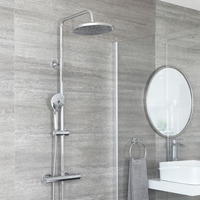 Colonne de douche thermostatique avec mitigeur barre rond, douchette et pommeau de douche – Chromé - Como