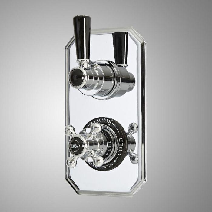 Mitigeur de douche thermostatique rétro encastré à 2 fonctions avec inverseur –  Chromé et noir - Elizabeth