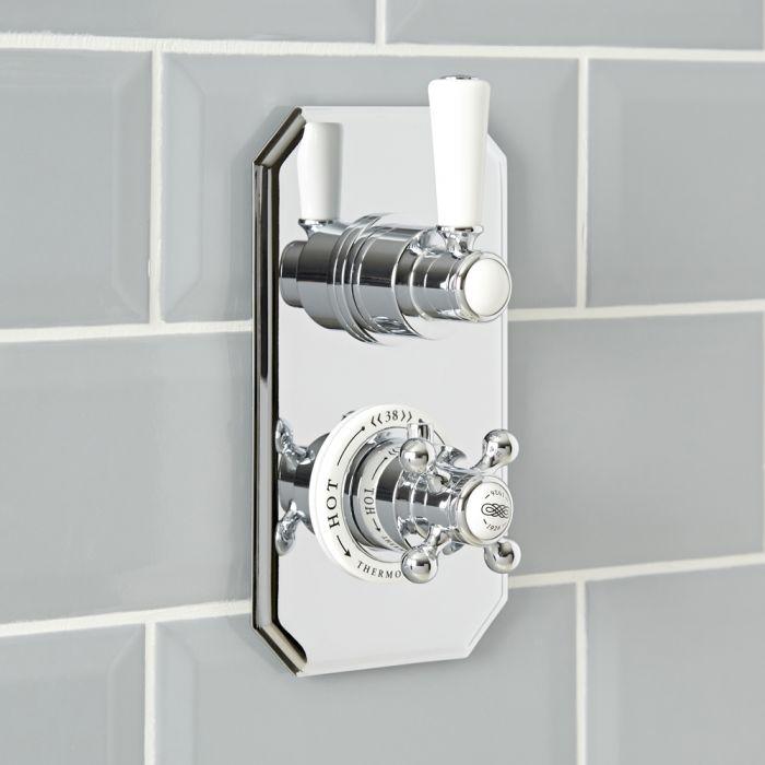 Mitigeur de douche thermostatique rétro encastré à une fonction – Chromé et blanc - Elizabeth