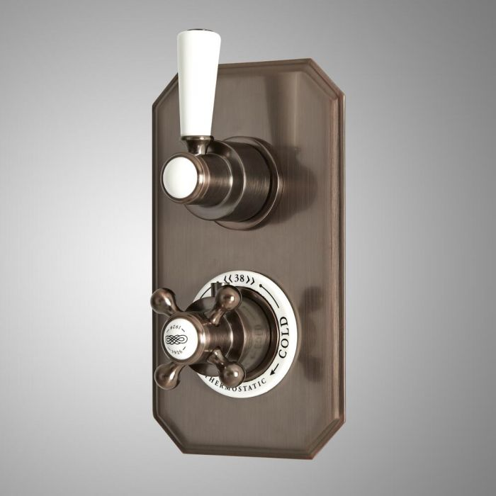 Mitigeur de douche thermostatique rétro encastré à 2 fonctions avec inverseur – Bronze huilé - Elizabeth