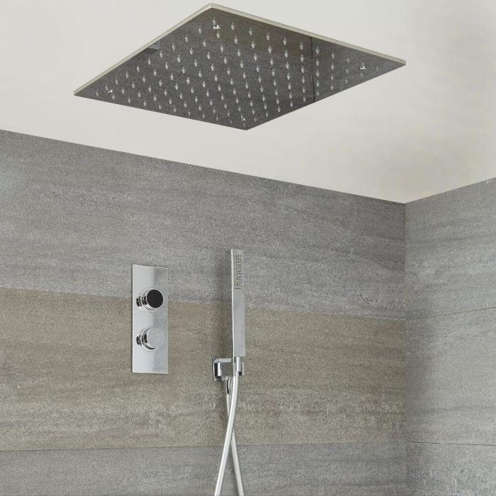 Kit de douche digitale thermostatique avec pommeau encastré et douchette – 2 fonctions – Chromé - Narus