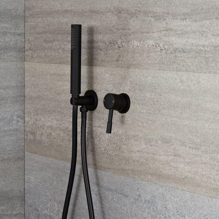Kit de douche noir - Mitigeur mécanique encastrable & Douchette - Nox