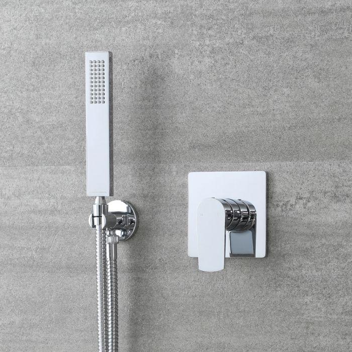 Kit de douche moderne avec mitigeur et kit douchette carrée – Chromé – 1 fonction - Arcadia
