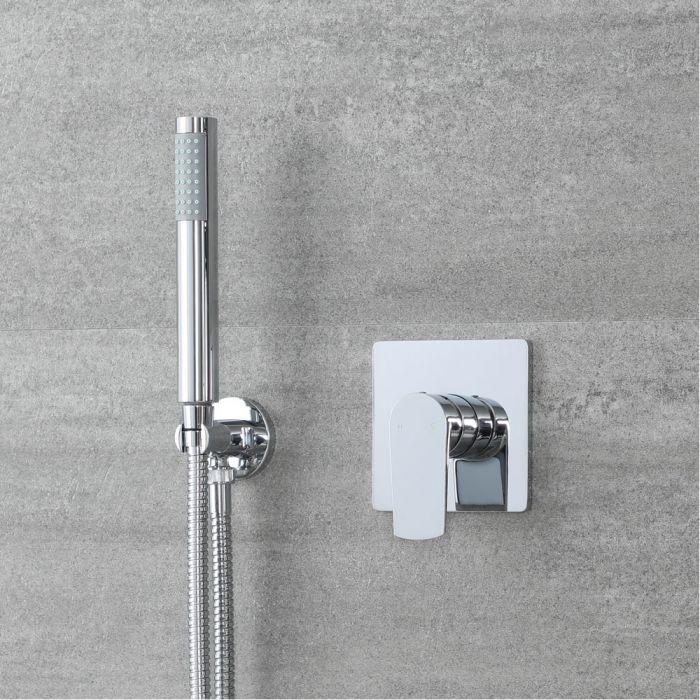 Kit de douche moderne avec mitigeur et kit douchette ronde – Chromé – 1 fonction - Arcadia
