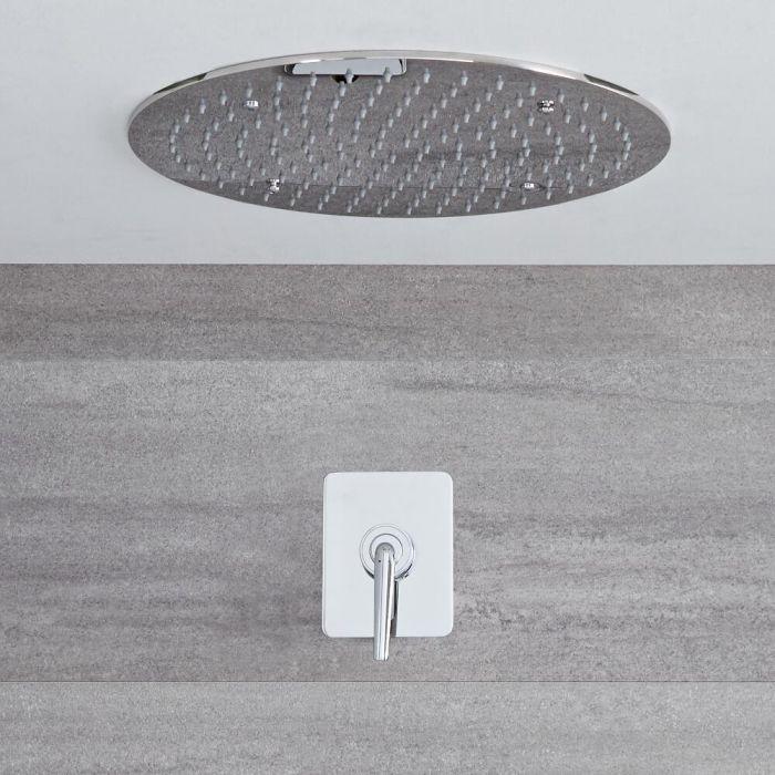 Kit de douche encastré - Mitigeur mécanique & Pomme de douche Ø 40cm - Ora Chromé