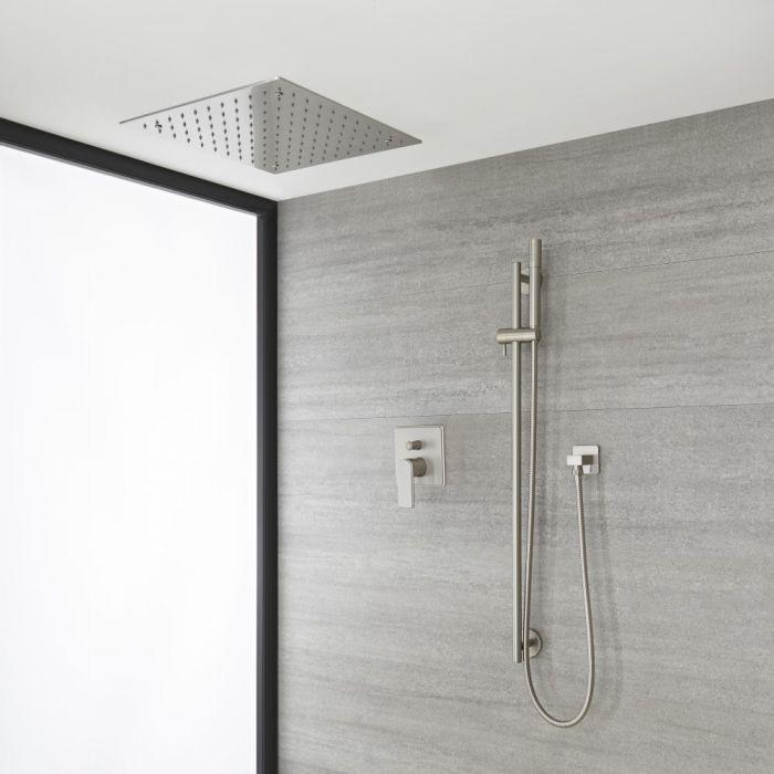 Kit de douche avec pommeau encastré et kit douchette sur rampe – 2 fonctions – Nickel brossé - Aldwick