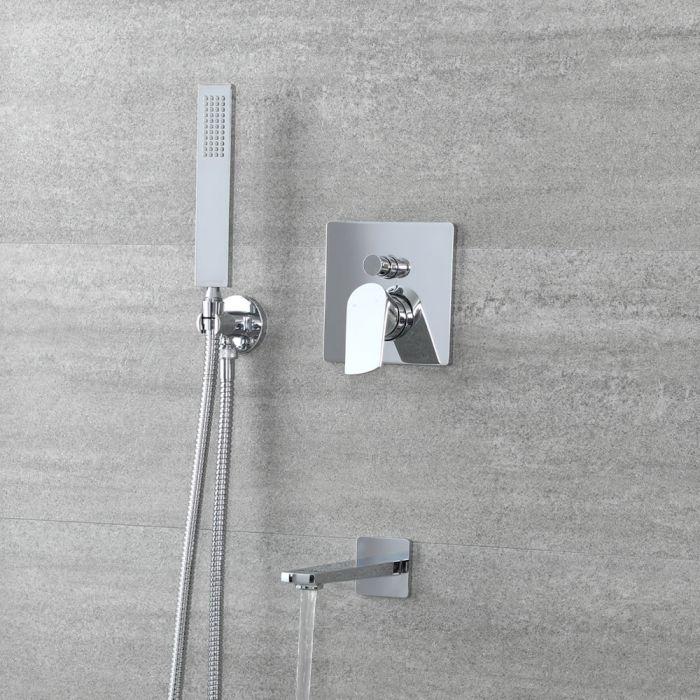 Kit bain douche avec mitigeur avec inverseur, douchette carrée et bec verseur – 2 fonctions – Chromé - Arcadia