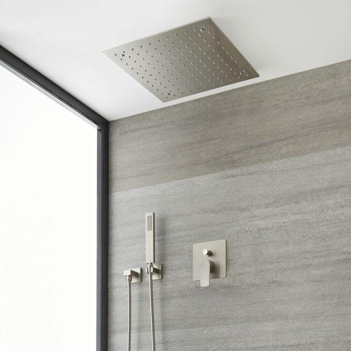 Kit de douche avec pommeau encastrable et kit douchette – 2 fonctions – Nickel brossé - Harting