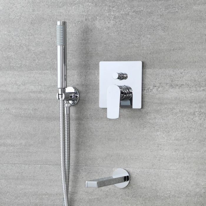Kit bain douche avec mitigeur avec inverseur, douchette et bec verseur – 2 fonctions – Chromé - Arcadia
