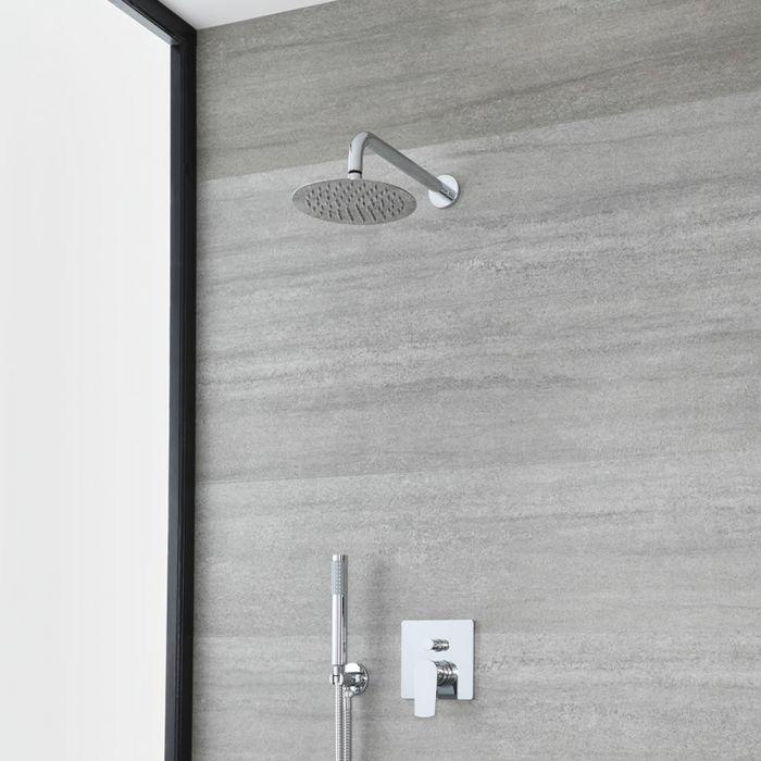 Kit de douche avec mitigeur avec inverseur, pommeau et douchette – 2 fonctions – Chromé - Arcadia