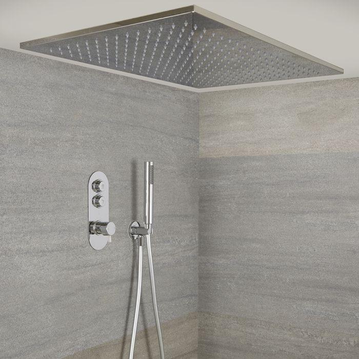 Kit de douche thermostatique avec mitigeur, pommeau encastré et douchette – 2 fonctions – Chromé - Idro