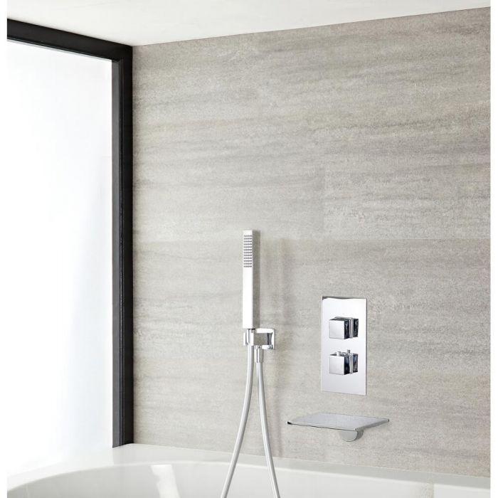 Mitigeur de douche thermostatique avec douchette et bec cascade – Chromé – Double fonction - Kubix