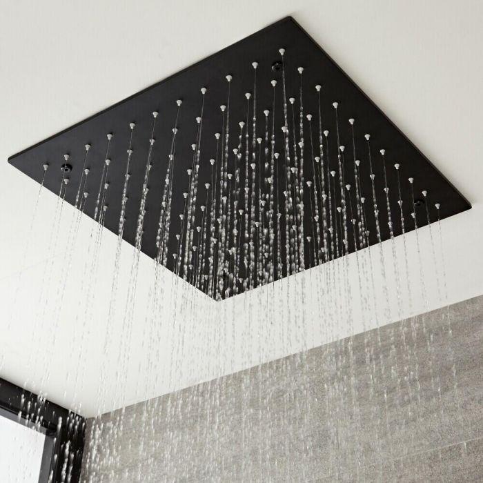 Pommeau de douche noir carré encastré plafond 40 x 40 cm - Nox