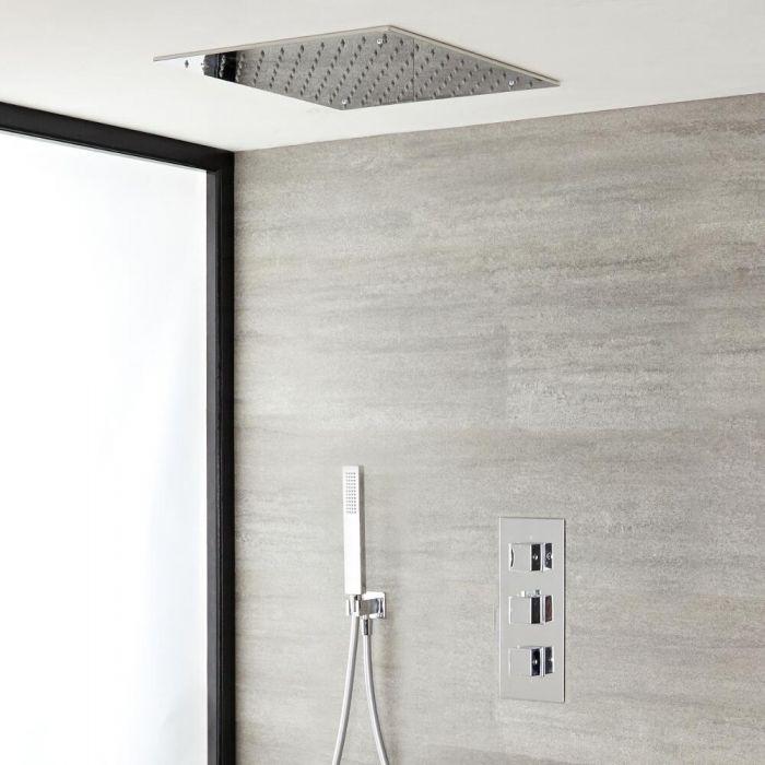 Kit de douche thermostatique avec pommeau plafonnier et douchette – Kubix