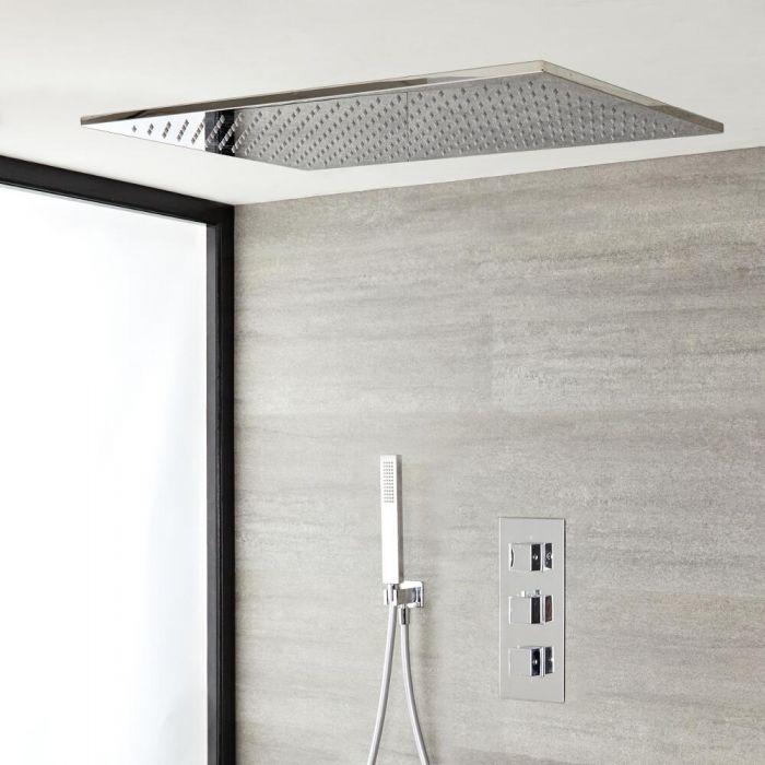 Kit de douche thermostatique – Douchette et pommeau de douche encastrable – 2 fonctions – Chromé – Kubix
