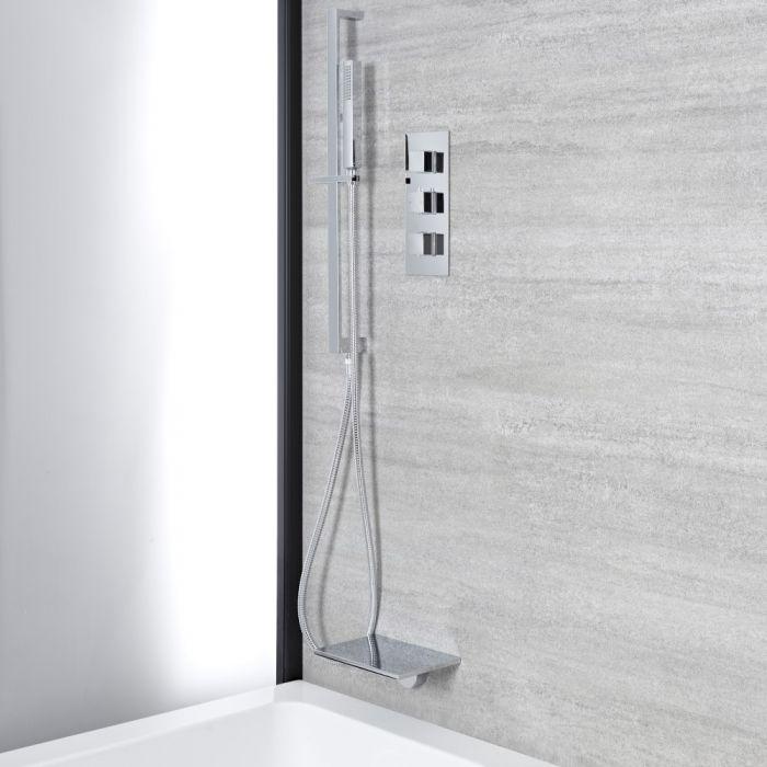 Kit de douche thermostatique - Bec verseur cascade baignoire – Kit douchette sur rampe – Chromé - Kubix