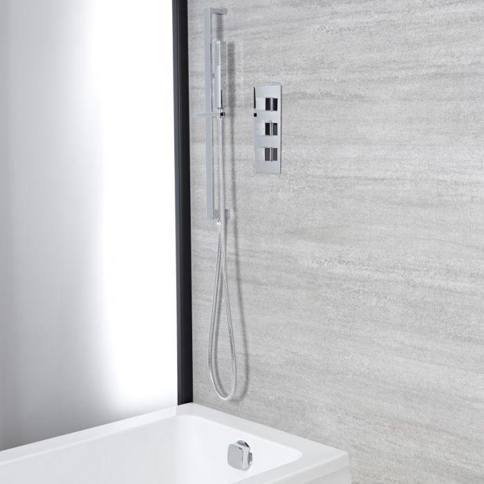 Kit de douche thermostatique - Remplissage et vidage baignoire – Kit douchette sur rampe – Chromé - Kubix