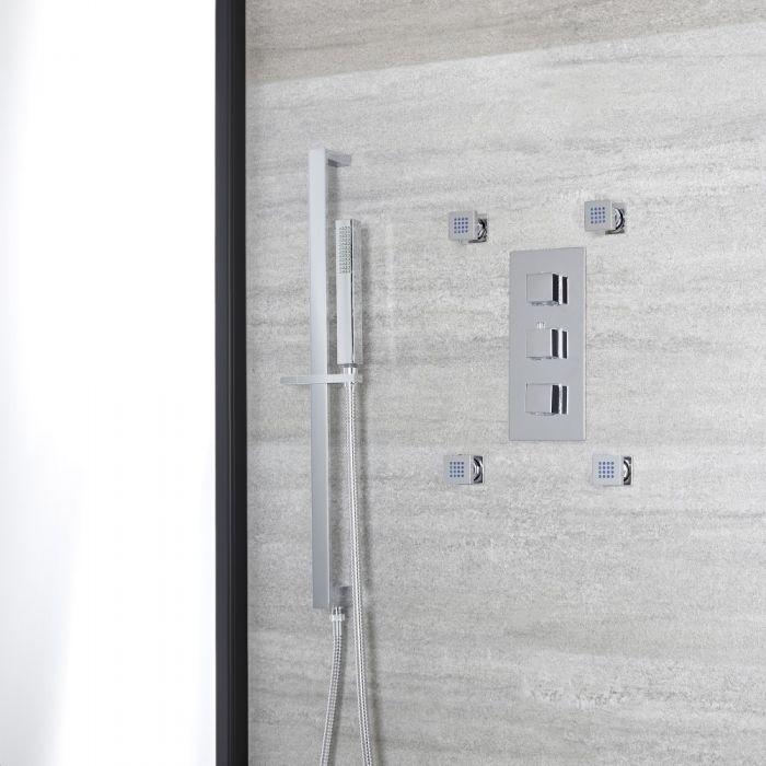 Kit de douche thermostatique – Kit douchette sur rampe – Buses hydromassantes – Chromé - Kubix