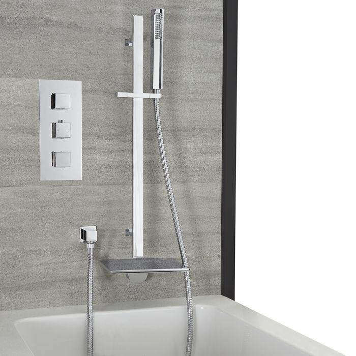 Kit de douche thermostatique – Bec verseur cascade baignoire et kit douchette sur rampe – 2 fonctions – Chromé - Kubix