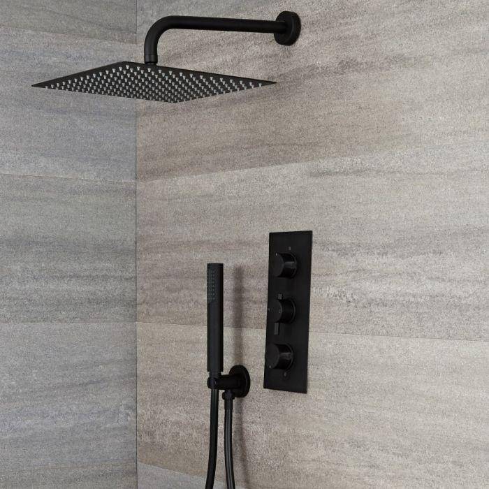 Kit de douche thermostatique avec mitigeur encastrable 2 fonctions - Pommeau de douche 30 cm x 30 cm & douchette – Noir – Nox