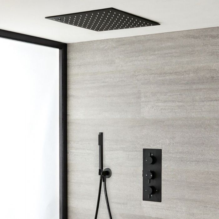 Mitigeur douche encastré avec pommeau de douche encastré de 40 cm & douchette – 2 fonctions –Nox