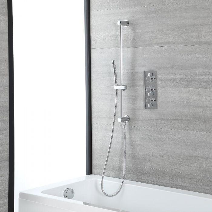 Kit de douche thermostatique – Kit douchette sur rampe – Set Remplissage Baignoire – Chromé - Como