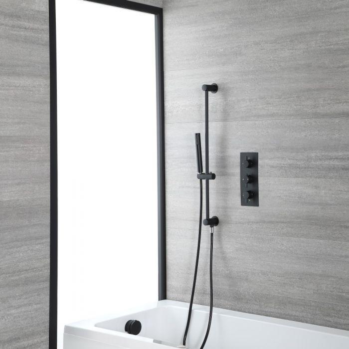 Kit de douche thermostatique avec mitigeur, kit vidage-remplissage et kit douchette sur rampe – Noir – Nox