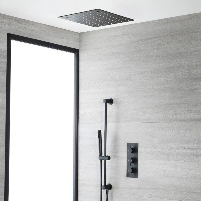 Kit de douche thermostatique avec mitigeur, pommeau de douche encastré et kit douchette sur rampe – Noir - Nox