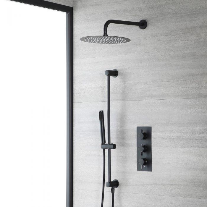 Kit de douche thermostatique avec mitigeur, pommeau de douche et kit douchette sur rampe - Noir - Nox