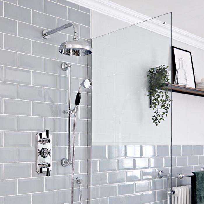 Kit de douche thermostatique à 2 fonctions - Pommeau de douche Ø20 cm et kit douchette sur rampe – Chromé et noir - Elizabeth
