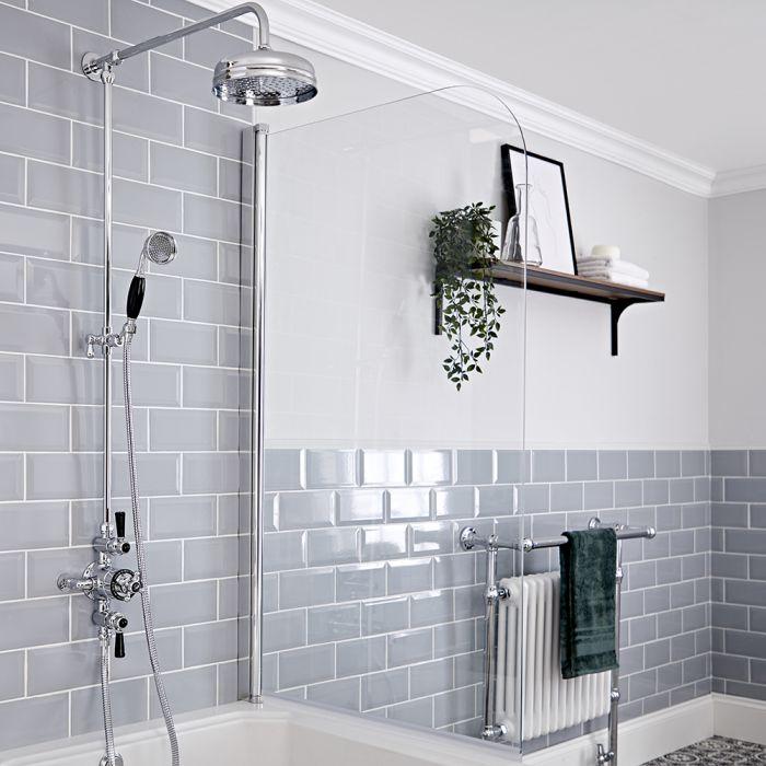 Kit colonne de douche avec mitigeur de douche thermostatique exposé à double fonctions – Chromé et noir - Elizabeth