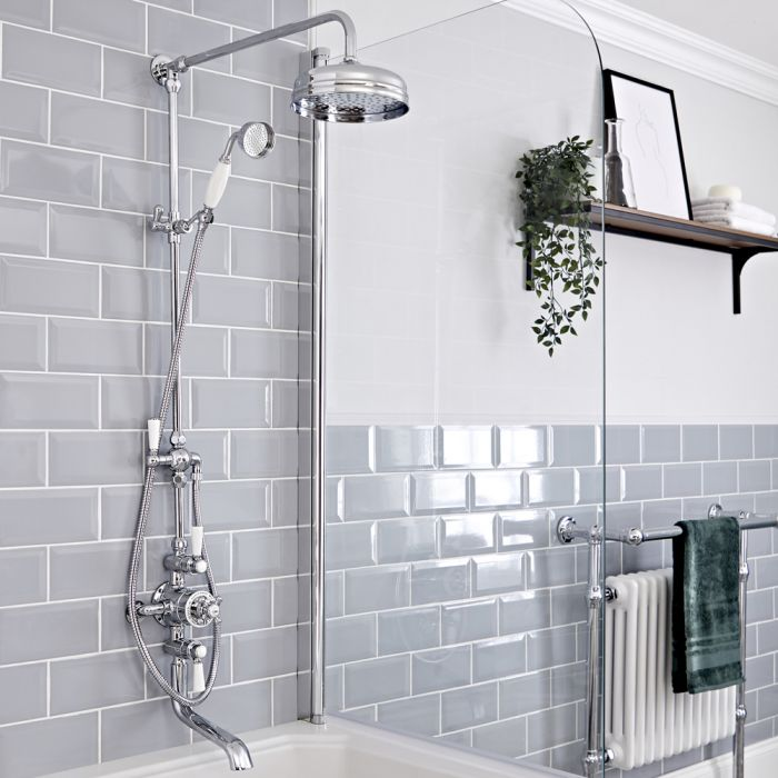 Colonne de douche avec mitigeur thermostatique exposé à 3 fonctions – Bec verseur, pommeau & douchette – Chromé et blanc - Elizabeth