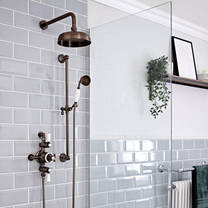 Kit de douche thermostatique exposé 2 fonctions – Pommeau Ø 20 cm – Douchette sur rampe – Bronze huilé - Elizabeth