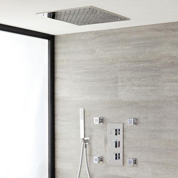 Kit de douche thermostatique avec mitigeur avec inverseur, pommeau encastré, douchette et buses hydromassantes – 3 fonctions – Chromé - Kubix