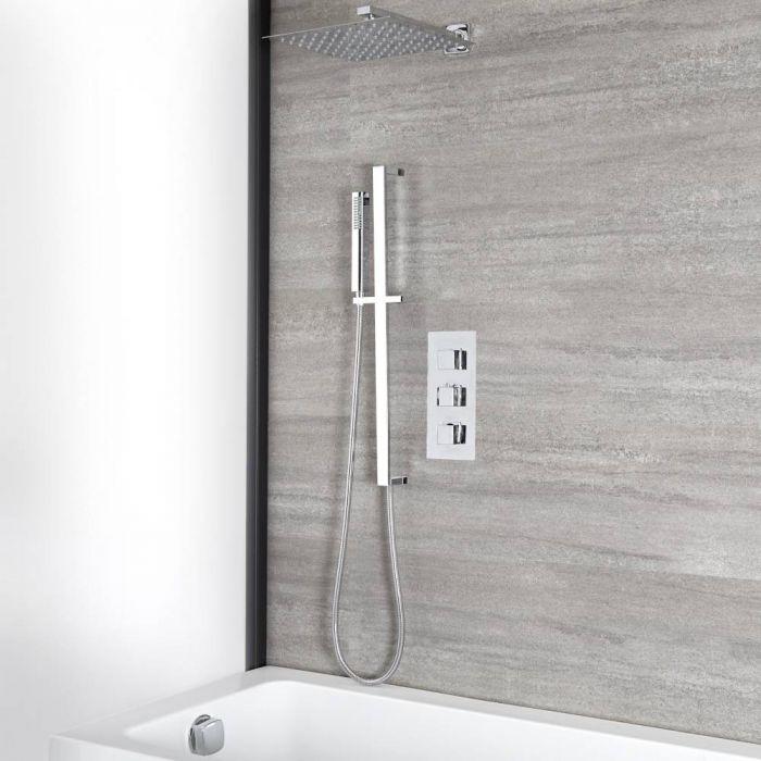 Kit de douche thermostatique avec inverseur – Pommeau de 30 cm – Kit douchette sur rampe – Remplissage et vidage baignoire – Chromé - Kubix