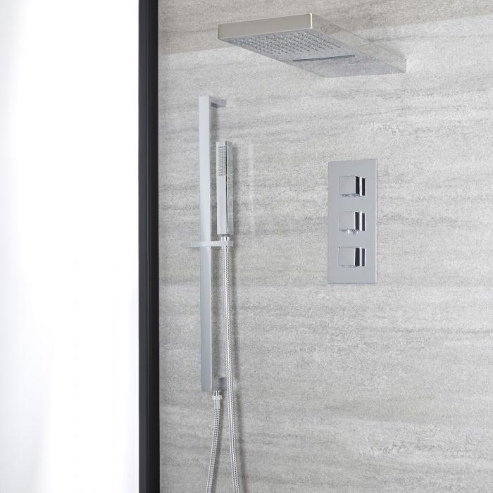 Kit de douche thermostatique avec inverseur – Pommeau cascade – Kit douchette sur rampe – Chromé - Kubix