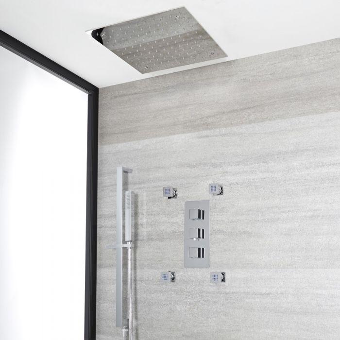 Kit de douche thermostatique avec inverseur – Pommeau carré encastré – Buses hydromassantes – Kit douchette sur rampe – Chromé - Kubix