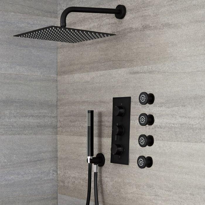 Kit de douche thermostatique avec mitigeur avec inverseur, pommeau carré, douchette et buses hydromassantes – 3 fonctions – Noir – Nox
