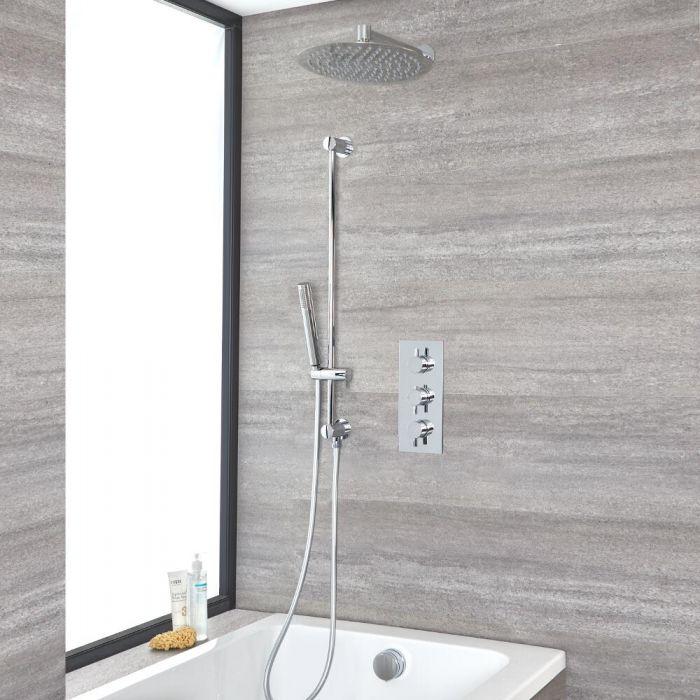 Kit de douche thermostatique avec inverseur – Pommeau rond Ø 30 cm – Kit douchette sur rampe – Remplissage et vidage baignoire – Chromé - Como