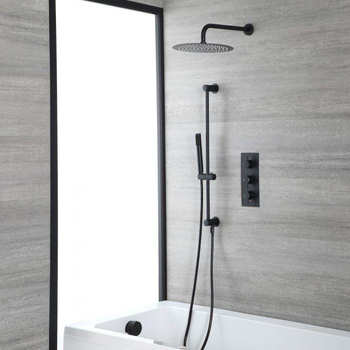 Kit de douche thermostatique avec mitigeur, pommeau de douche, kit vidage-remplissage baignoire et kit douchette sur rampe – Noir - Nox