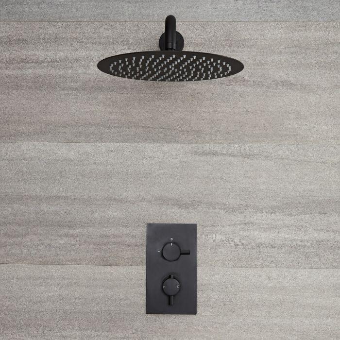 Kit de douche noir - Mitigeur thermostatique encastrable & pommeau de douche Ø 30cm - Nox