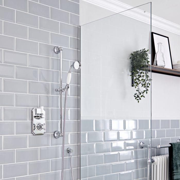 Kit de douche thermostatique à 1 fonction – Douchette sur rampe – Chromé et blanc - Elizabeth