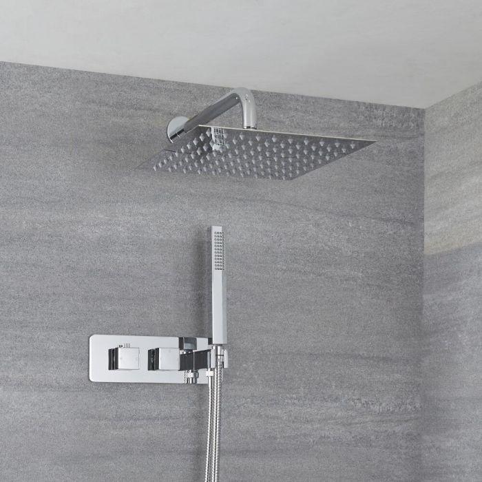 Kit de douche thermostatique avec mitigeur avec inverseur, pommeau mural et douchette – 2 fonctions – Chromé – Kubix