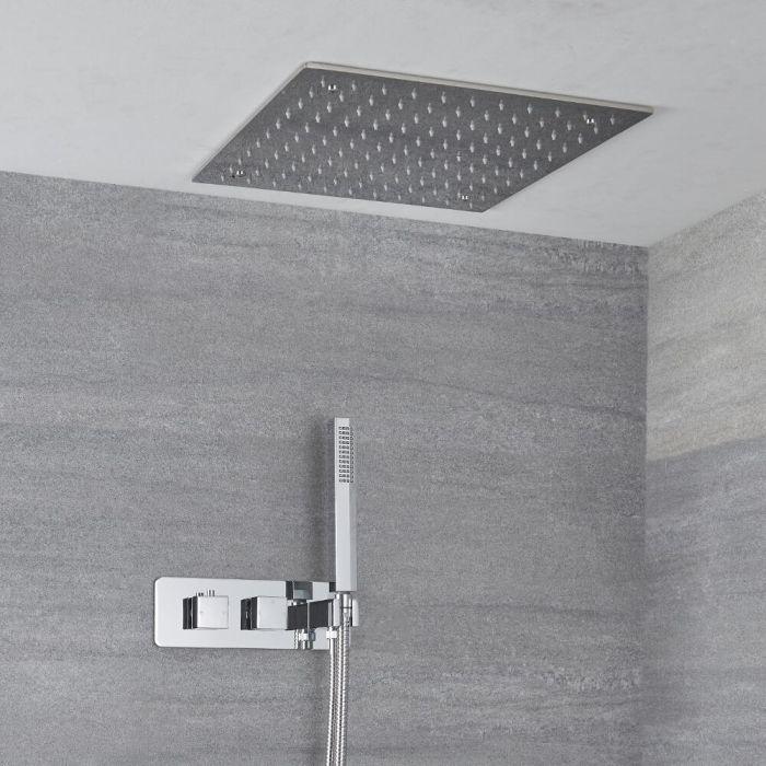 Kit de douche encastrable - Pommeau plafonnier 40 x 40 cm & douchette sur clip - Kubix